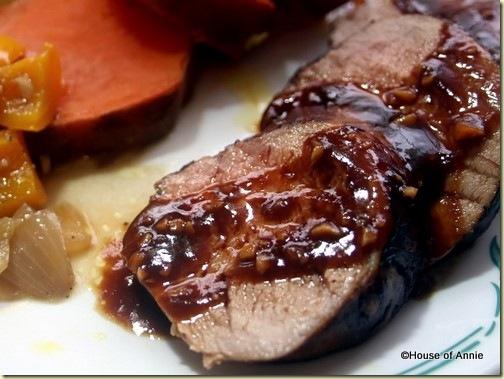 Ginger-Marinated Pork Tenderloin plated
