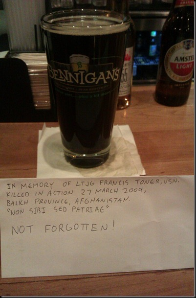 A beer for the fallen