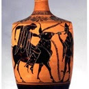 Lecito ático de figuras negras (550-500 a.C.) atribuido al Grupo de Leagros. Museo de la escuela de diseño de Rodas