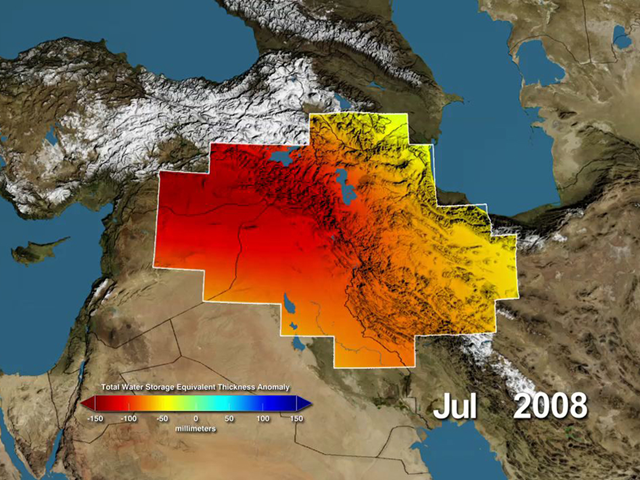 Variations in total water storage from normal, in millimeters, in the Tigris and Euphrates river basins, as measured by NASA's Gravity Recovery and Climate Experiment (GRACE) satellites, from January 2003 through December 2009. Graphic: NASA / UC Irvine/ NCAR