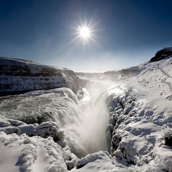 Gulfoss Frozen Waterfall, Iceland