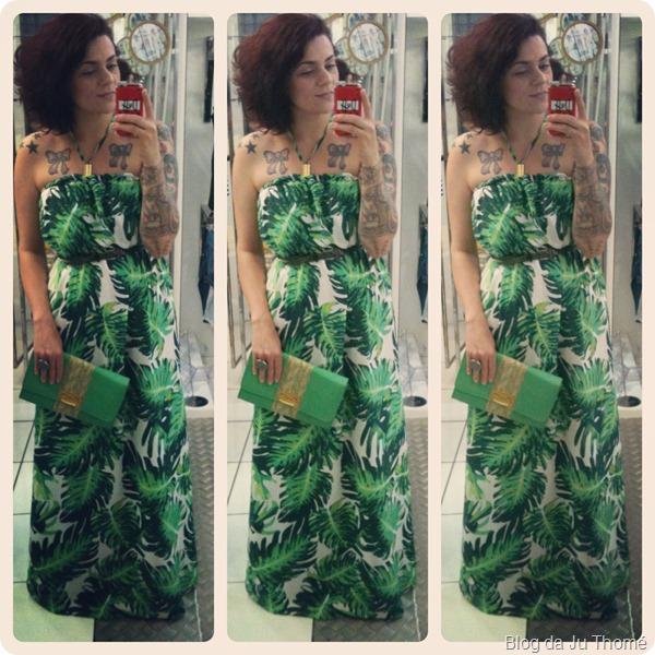 look vestido longo verde com estampa tropical e bolsa amarela (4)