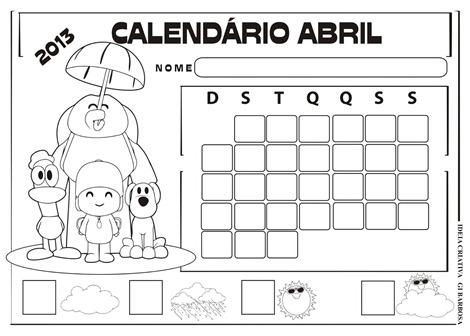 calendário abril pocoyo