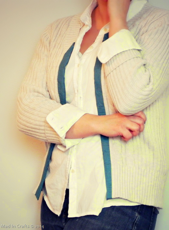 DIY Duck Fabric Trim Cardigan