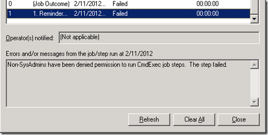 Non-SysAdmins have been denied permission to run CmdExec job steps