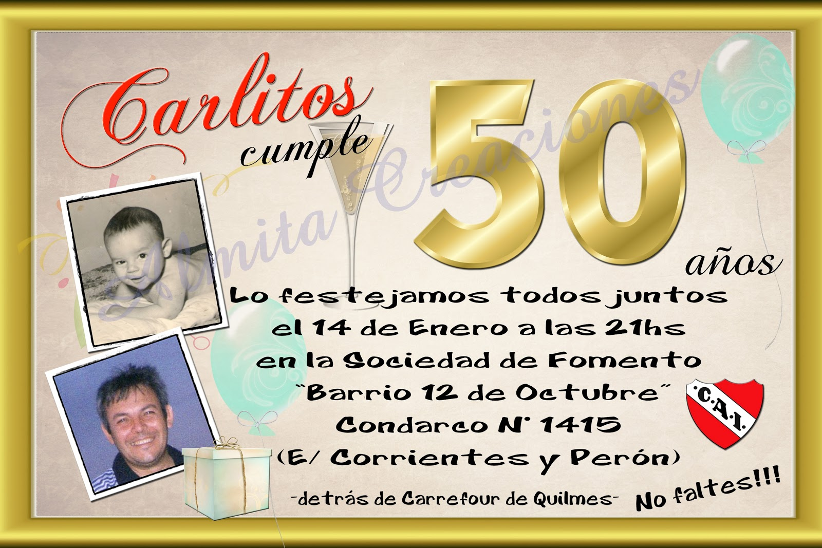Tarjeta invitacion 50 a os quotes links - Fotos 50 cumpleanos ...