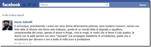Dalla pagina Facebook di Mario Adinolfi