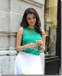 Actress Kajal Agarwal Hot Images in Bright Cyan Top & White Skirt