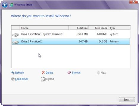 Now choose correct partition to install Windows 8.1