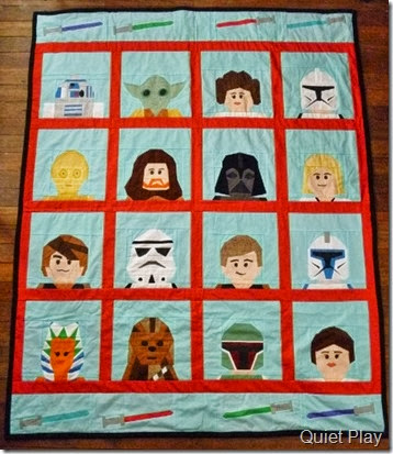 LEGO Star Wars Paper pieced quilt by Kristy @ Quiet Play