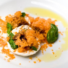 Frozen Caprese Salad with heirloom tomato granita
