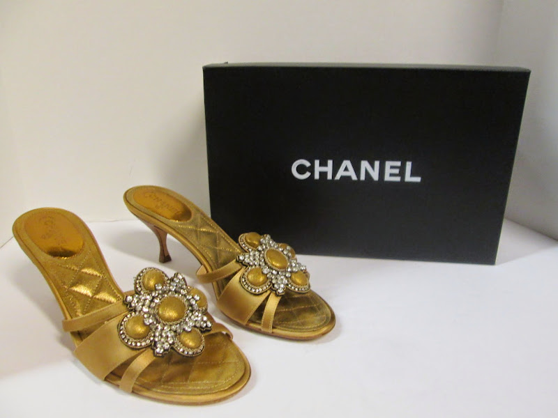 Chanel Gold Mules