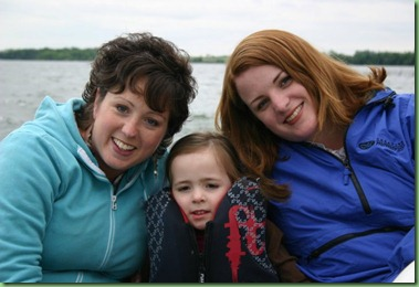Auntie Lissa, Cara, and Meg on boat