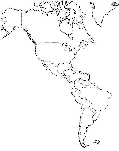 Mapa del continente americano sin nombres y sin division politica ...