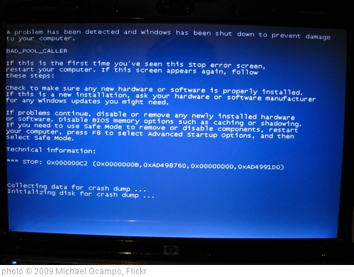 'My Computer's Blue screen of death' photo (c) 2009, Michael Ocampo - license: http://creativecommons.org/licenses/by/2.0/