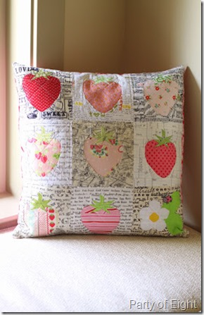Strawberry cushion by Gina @ Party of 8