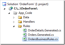 OrdersBusinessRules.cs Rule file in OrderForm project