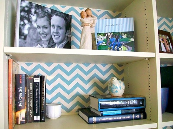 fabric covered shelves