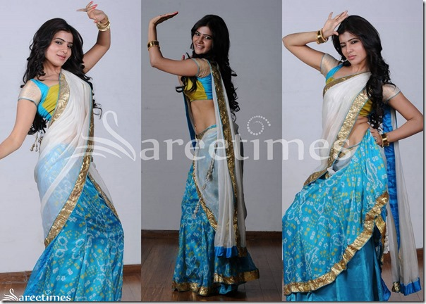 Samantha_White_Blue_Half_Saree