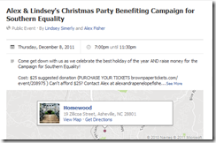 Alex & Lindsey's Christmas Party Benefiting Campaign for Southern Equality_1325136036361