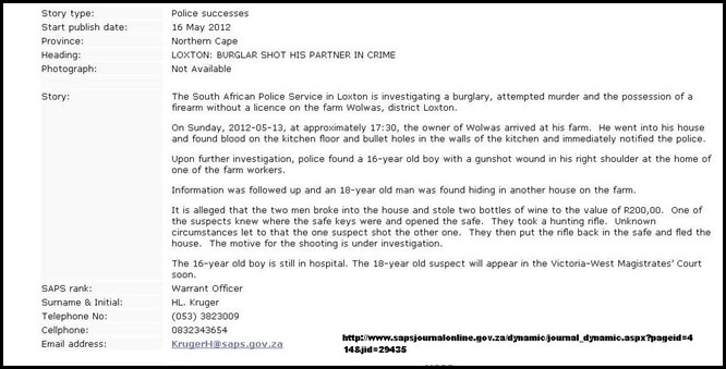 VAN WYK TICKY NORTH CAPE FARM ATTACK WOLWAS LOXTON FARM ATTACK SUNDAY MAY 13 2012