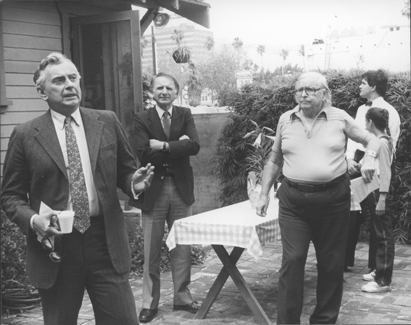 Morris Kight (right) party attended by Gore Vidal (left) and Ed Edelman (center). Circa 1980.
