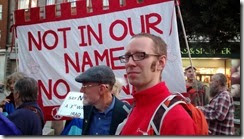 Rob White not in our name Iraq demo