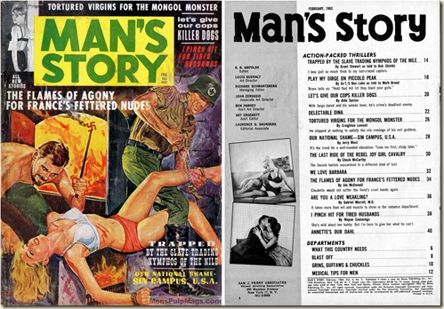 1- MAN'S STORY, Feb. 1963, cover & contents