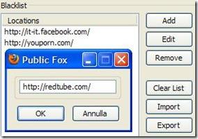 Public Fox aggiungere sito internet alla blacklist