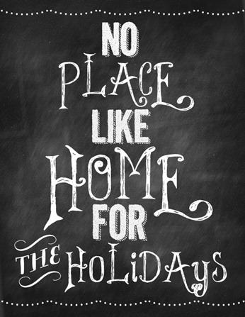 no place like home for the holidays chalkboard printable