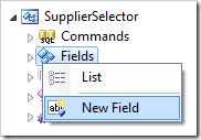 New Field context menu option for Fields node in the Project Explorer.