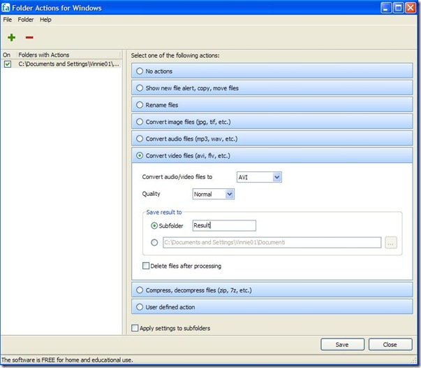 Folder Actions for Windows