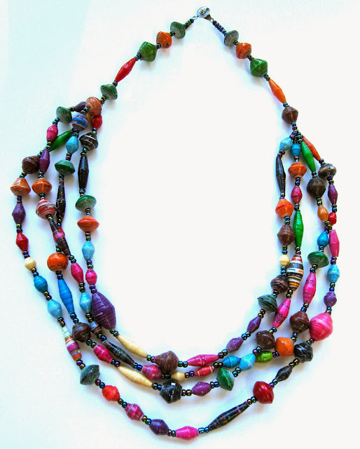 4-Strand Paper Bead Necklace