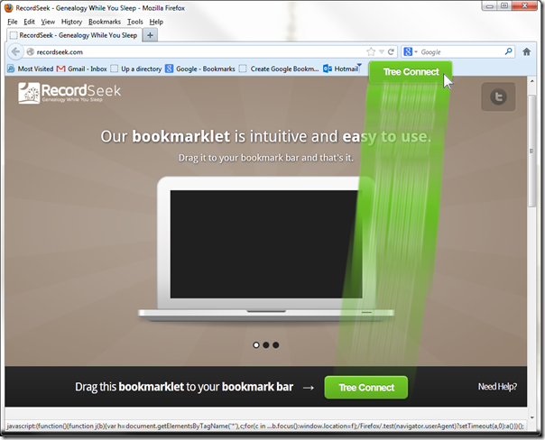 Install RecordSeek by dragging the button onto your bookmark bar