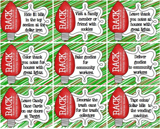 Freebie fromTeacher to the Core Random Acts of Kindness