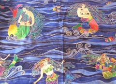 mermaid fabric Laurel Burch