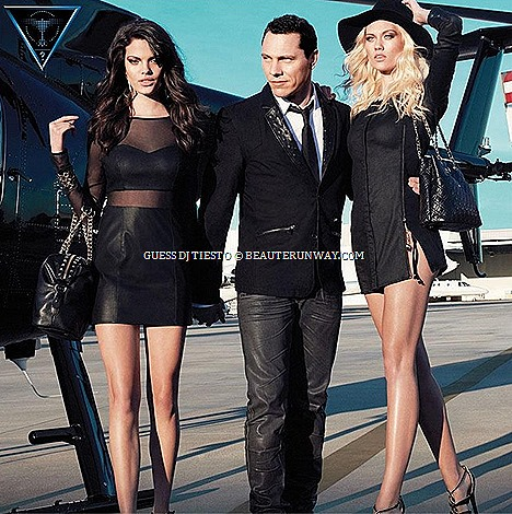 GUESS Tiësto Spring Summer 2013 Women, Men accessories collection trendy denim leather panel apparels, fashionable skinny jeans, shoes, wedges, jewellery, sunglasses watches timepiece boutiques club couture live music performances
