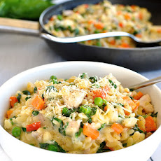 One Pot Chicken, Vegetable & Parmesan Orzo (Risoni)