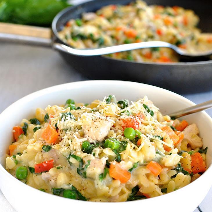 One Pot Chicken, Vegetable & Parmesan Orzo (Risoni) Recipe | Yummly