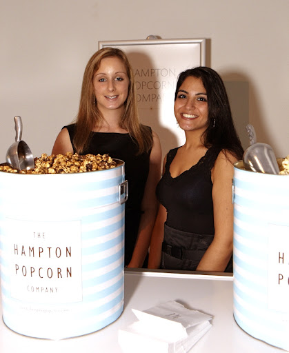 The girls from the Hampton Popcorn Company never thought they would run out of their sweet and savory varieties of popcorn with those enormous buckets, but by the end of the night they were cleaned out!  The popcorn was served in custom printed bags by For your Party (seen on the table).