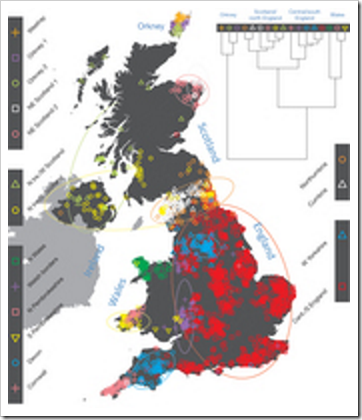 Map of genetic clusters found in Oxford study