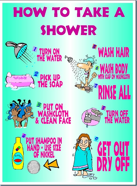 How to Take a Shower ©2014 Schnegel-stuff.blogspot.com