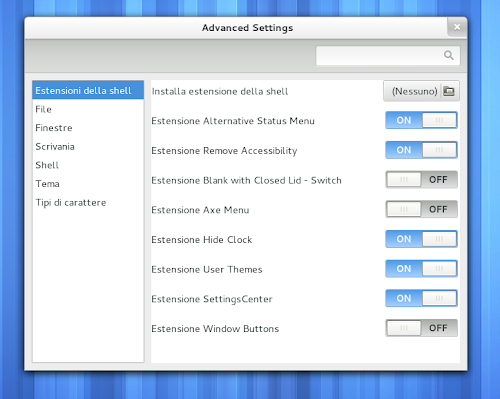 Gnome Tweak Tool  - Estensione User Themes