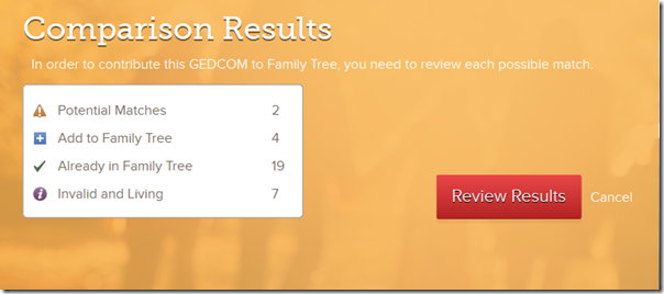 Pedigree Resource File results of GEDCOM comparison to FamilySearch Family Tree