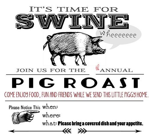 pig roast invite blank