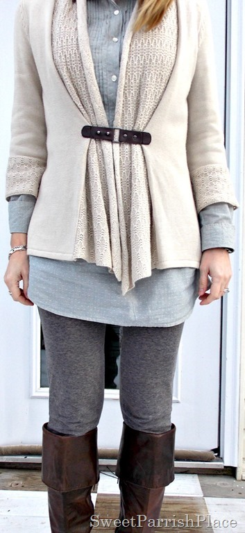 Grey leggings, blue tunic, tan cardigan, brown boots4