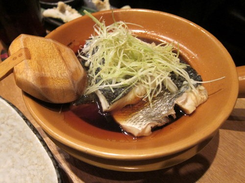 Suzuki In Pot: steamed seabass in dashi with daikon pakchoi
