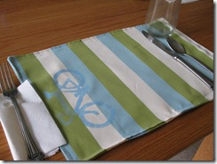 striped placemat with freezer paper stencil