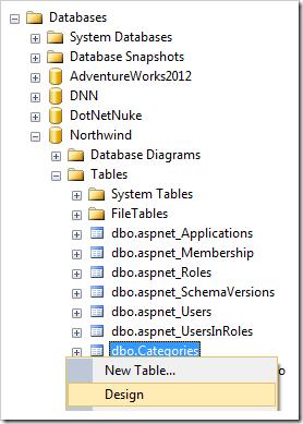 Designing the Categories table in SQL Server Management Studio.