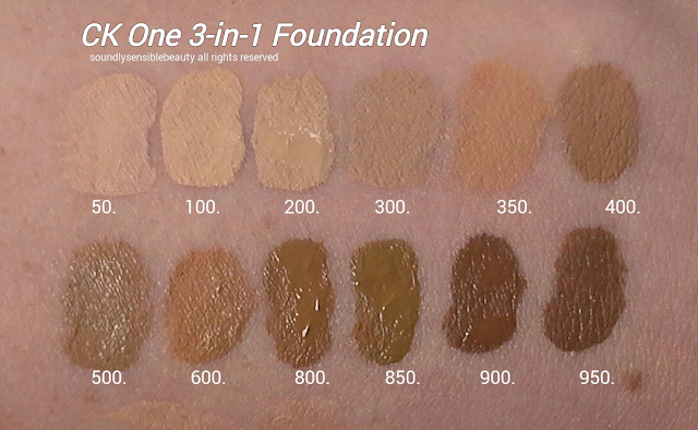 Calvin Klein Ck One 3-in-1 Face Makeup SPF 8 Oil Free Foundation; Review & Swatches of Shades 50 Ivory, 100 Porcelain, 200 Fair, 300 Sand, 350 Warm Sand, 400 Bisque,  500 Tan, 600 Honey, 800 Cappuccino, 850 Toffee, 900 Walnut, 950 Espresso